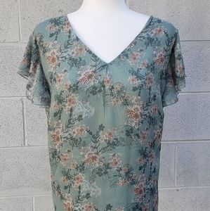 Ambria floral ruffle sleeve blouse